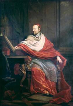Cardinal Pierre de Berulle (1575-1629) of artist Philippe de Champaigne, Oil, Cap, Male, Full, Popes, Robes, Skull, Canvas
