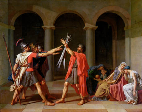 The Oath of Horatii, 1784 of artist Jacques-Louis David, Oil, Oath, Copy, Drama, Spear, Women, Roman, Group