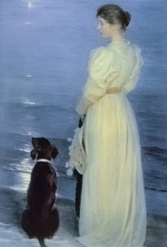 Summer Evening at Skagen, the Artist's Wife with a Dog on the Beach, 1892 of artist Peter Severin Krøyer, Oil, Crt, Dgt, 20th, 19th, Women, Shore, Early