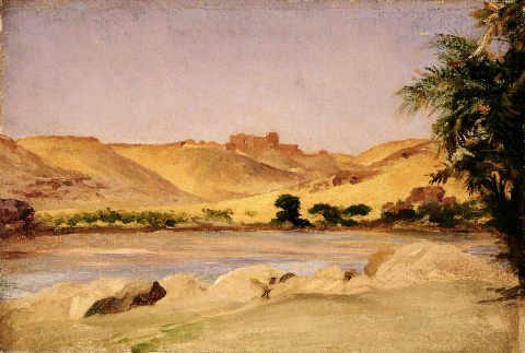 View on the Nile, c.1879 of artist Lord Frederick Leighton, Arid, Banks, North, Africa, Desert, Egyptian, Landscape, Riverbank
