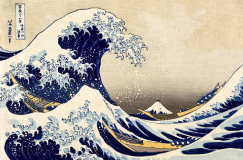 The Great Wave of Kanagawa from from the series '36 Views of Mt. Fuji', 1831 of artist Katsushika Hokusai as framed image