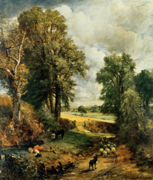 The Cornfield, 1826 of artist John Constable, Oil, Corn, Rural, Field, Flock, Sheep, Canvas, Scenes