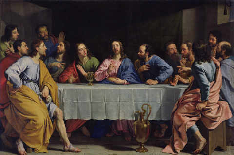 The Last Supper, 1648 of artist Philippe de Champaigne, Oil, New, Meal, Life, Ewer, Cene, Table, Jesus