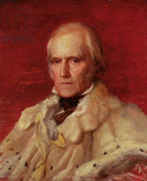 Portrait of Stratford Canning (1786-1880), Viscount Stratford de Redcliffe (1856-7) of artist George Frederick Watts, Oil, Fur, Men, 19th, Male, 20th, Early, Stern