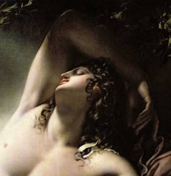 Detail of The Sleep of Endymion, 1791 of artist Anne-Louis Girodet de Roucy-Trioson, Oil, Nude, Lune, Skin, Moon, Effet, Dream, Canvas