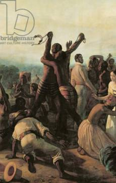 Detail of Proclamation of the Abolition of Slavery in the French Colonies, 23rd April 1848, 1849 of artist François-Auguste Biard, Oil, 1700, Flag, Human, Negro, Slave, Canvas, French
