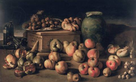 Still life with fruit and a box of fine chocolate of artist Master of the Fine Chocolate as framed image