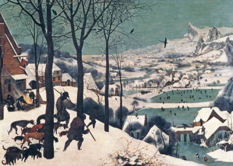 Hunters in the Snow - january, 1565 of artist Pieter Brueghel der Ältere as framed image
