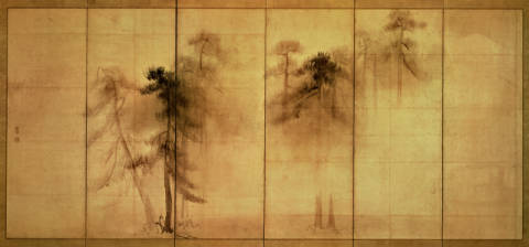 The forest of pines by Hasagawa Tohaku (16th century) of artist Unbekannt, Ink, Art, Pine, Tree, Paper, Trees, Woods, Fauna