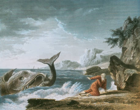 Jonah having been vomited out by the whale onto dry land von Künstler Joseph Vernet als gerahmtes Bild