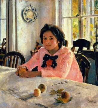 Girl with Peaches, 1887 of artist Valentin Alexandrowitsch Serow, Oil, 20th, 1887, Room, 19th, Manor, Woman, Still