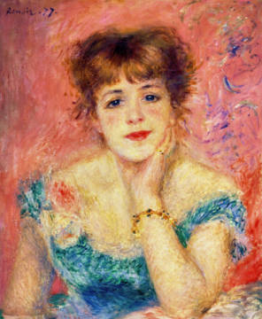 Portrait of the actress Jeanne Samary, 1877 of artist Pierre Auguste Renoir, Oil, Face, 1877, 47cm, City, Woman, Young, Etude