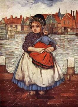 A Girl with a Doll, 1904 of artist Nico Jungman as framed image