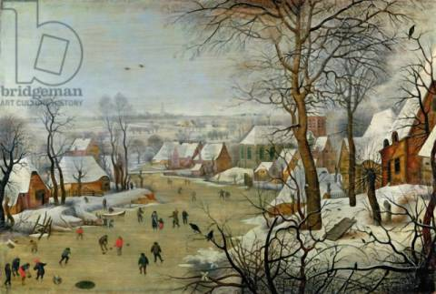 Winter Landscape with Skaters and a Bird Trap of artist Pieter Brueghel der Jüngere, Oil, Rural, Scene, Scenes, Winter, Canvas, Weather, Century
