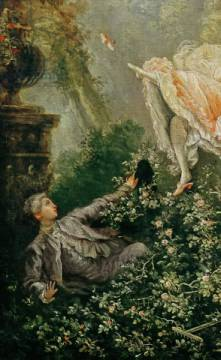 Detail of The Swing of artist Jean-Honore Fragonard, Oil, Love, Parks, Rococo, Voyeur, Garden, French, Canvas