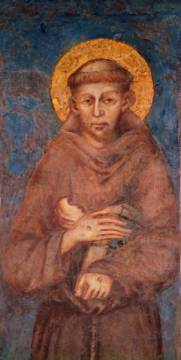 Detail of St. Francis of artist Giovanni Cimabue, Wall, Monk, Book, Male, Halo, Mural, Habit, Friar