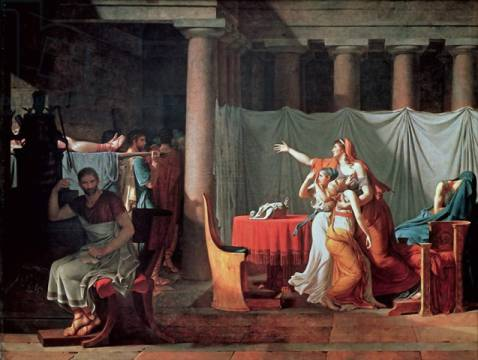 Lictors Bearing to Brutus the Bodies of his Sons, 1789 of artist Jacques-Louis David, Oil, Two, Body, Sons, Dead, Near, Pain, Bring