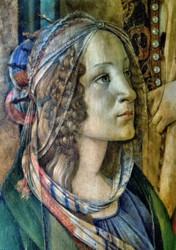 Detail of St. Catherine from the Altarpiece of San Barnaba von Künstler Sandro Botticelli als gerahmtes Bild