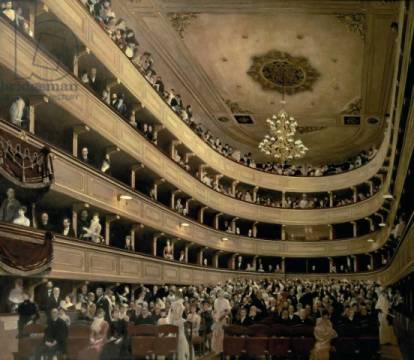 The Auditorium of the Old Castle Theatre, 1888 von Künstler Gustav Klimt, Dose, Kreis, Erdöl, Glotze, Verein, Kasten, Leinen, Leinwand
