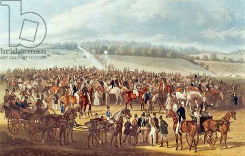 The Betting Post, Epsom, 1830 of artist James Pollard, Crt, Horse, Surrey, Europe, Racing, Sports, England, English