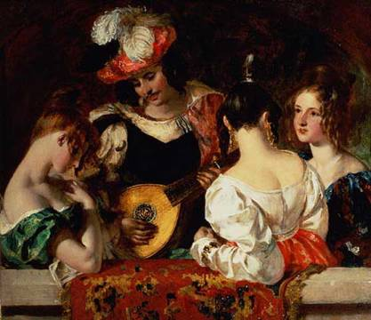 The Lute Player of artist William Etty, Male, 18th, Female, Century, Minstrel, Audience, Musician, Flirting