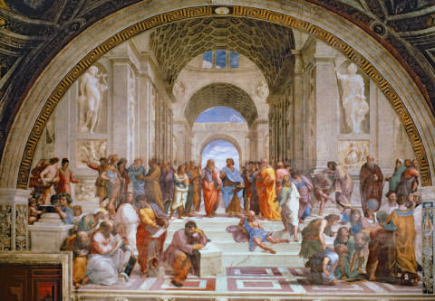 School of Athens, from the Stanza della Segnatura, 1510-11 of artist Raphael, Crt, Self, High, Cynic, Plato, Sodoma, Fresco, Stanza