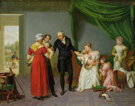 Baron Jean Louis Alibert (1768-1837) performing the vaccination against smallpox in the Chateau of Liancourt, c. 1820 von Künstler Constant Joseph Desbordes als gerahmtes Bild
