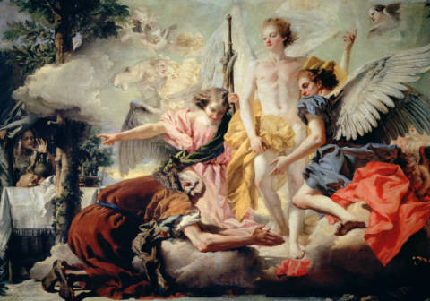 Abraham and the Three Angels of artist Giovanni Domenico Tiepolo, Old, Humble, Genesis, Religion, Testament, Prostrated, Christianity, Personalities