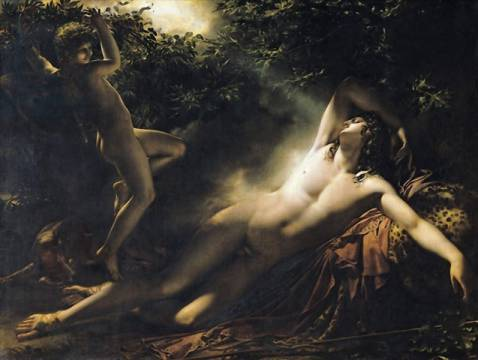 The Sleep of Endymion, 1791 of artist Anne-Louis Girodet de Roucy-Trioson, Oil, Lune, Skin, Moon, Nude, Male, Curls, Effet