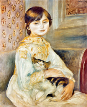 Julie Manet with Cat, 1887 of artist Pierre Auguste Renoir, Oil, Pet, Chat, Girl, Canvas, French, Renoir, Portrait