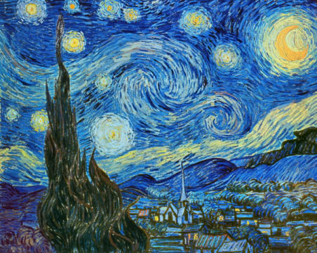 The Starry Night of artist Vincent van Gogh, Oil, Tree, June, 92cm, Moon, Gogh, Times, Dutch