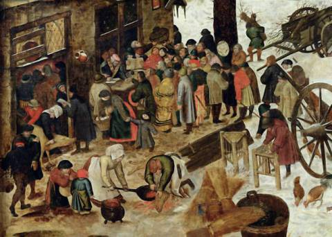 The Payment of the Tithe, or The Census at Bethlehem, detail, after 1566 of artist Pieter Brueghel der Jüngere, New, Pig, Oil, Cut, Holy, Slit, Legal, Queue