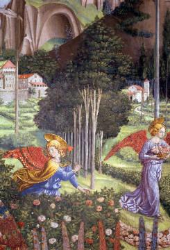 Detail of Angel gathering flowers in a heavenly landscape, detail from the Journey of the Magi cycle in the chapel, c.1460 von Künstler Benozzo di Lese di Sandro Gozzoli als gerahmtes Bild