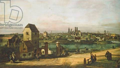 View of Munich, c. 1761 of artist Bernardo Bellotto, Oil, City, Isar, River, Europe, Canvas, Germany, Italian
