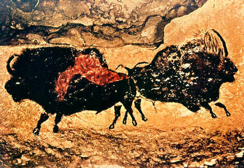 Rock painting of bison, c.17000 BC of artist Unbekannt, Cave, Hump, Europe, Cattle, Painting, European, Prehistoric, Pre-history