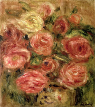 Flowers, 1913-19 of artist Pierre Auguste Renoir, Oil, Life, Roses, Still, Renoir, French, Canvas, Impressionist