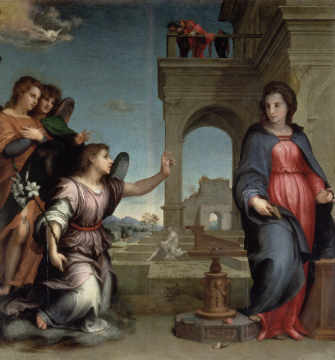 Annunciation, 1512 of artist Andrea d'Agnolo Sarto, New, Dove, Mary, Holy, Book, Lily, Roses, Spirit
