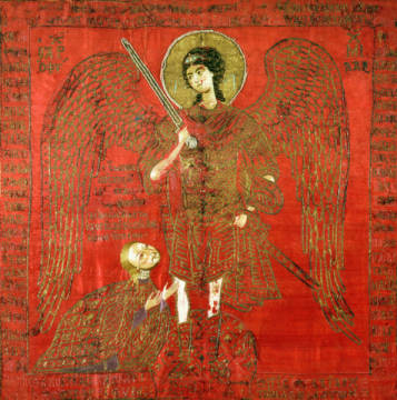 The Archangel Michael with Manuel II Palaeologus (1391-1425), Emperor of the Eastern Roman Empire, Byzantine, 15th century of artist Unbekannt, Sword, Putti, Angels, Cherubs