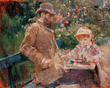 Eugene Manet (1833-92) with his daughter at Bougival, c.1881 of artist Berthe Morisot as framed image