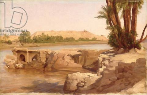 On the Nile, 1868 of artist Lord Frederick Leighton, Oil, Egypt, River, Canvas, English, Egyptian, Landscape, Riverbank