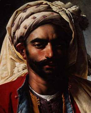 Portrait of Mustapha of artist Anne-Louis Girodet de Roucy-Trioson, Head, Moor, Arab, Bust, Male, Muslim, Turban, Girodet