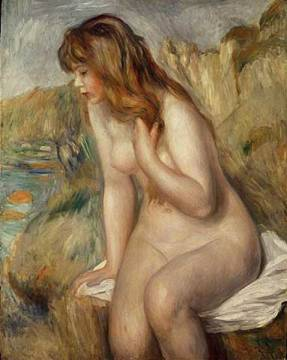 Bather seated on a rock, 1892 of artist Pierre Auguste Renoir, Red, Nude, Hair, Girl, Renoir, Female, Impressionist