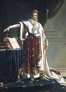 Portrait of Napoleon I in his Coronation Robes, 1804 of artist Anne-Louis Girodet de Roucy-Trioson, Orb, Code, Ring, Male, Bees, Staff, Golden, France