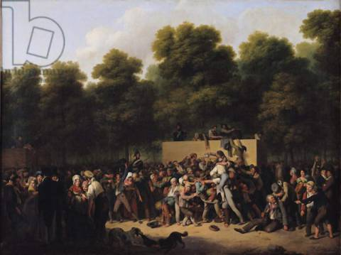 The Distribution of Food and Wine on the Champs-Elysees, 1822 of artist Louis-Léopold Boilly, Oil, Park, Riot, Drunk, Parks, Crowd, Rulers, French