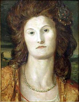 Portrait of Lady Ashburton (d.1857) of artist George Frederick Watts, Mary, Jewels, Female, Pearls, Harriet, Pre-raphaelite