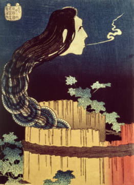 Japanese Ghost II of artist Katsushika Hokusai, Art, Leaves, Spooky, Japanese, Sinister, Woodblock