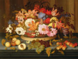 Balthasar van der Ast - Still Life of Fruit and a Basket of Flowers, 1623