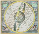 Andreas Cellarius - Map Charting the Orbit of the Moon around the Earth, from 'A Celestial Atlas, or The Harmony of the Universe'  pub. by Joannes J