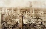 French School - View Across Siena, from 'Fragments d'Architecture du Moyen Age et de la Renaissance', engraved by Jules Adolphe Chauvet (b.1828)