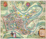 Joris Hoefnagel - Map of Luxembourg, from 'Civitates Orbis Terrarum' by Georg Braun (1541-1622) and Frans Hogenberg (1535-90) c.1572-1617
